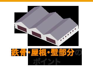 鉄骨・屋根・壁部分の ポイント
